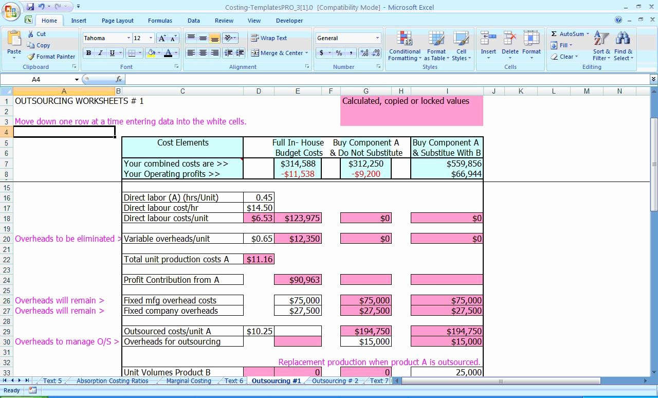 Product Costing Template Excel Free Awesome Excel Standard Costing Spreadsheets