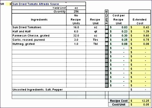 Product Costing Template Excel Free Awesome Recipe Costing Template