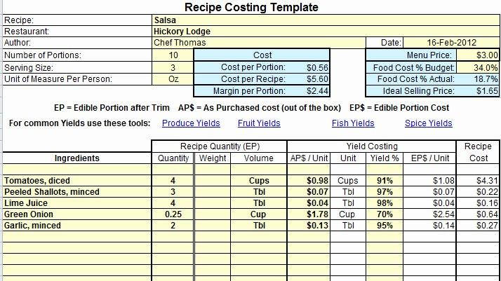 Product Costing Template Excel Free Best Of Plate Cost How to Calculate Recipe Cost Chefs Resources