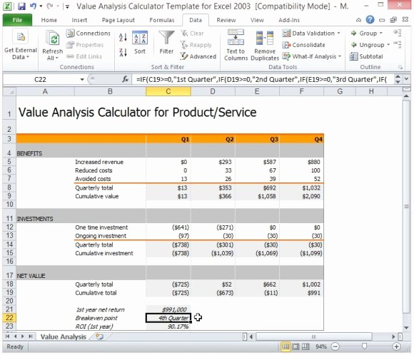 Product Costing Template Excel Free Best Of Value Analysis Calculator Template for Excel