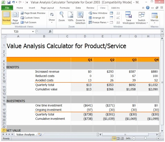 Product Costing Template Excel Free Elegant Value Analysis Calculator Template for Excel