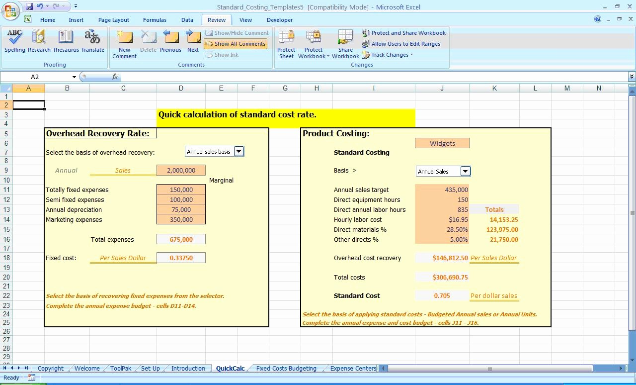 Product Costing Template Excel Free Fresh Ms Excel Costing and Expense Controls