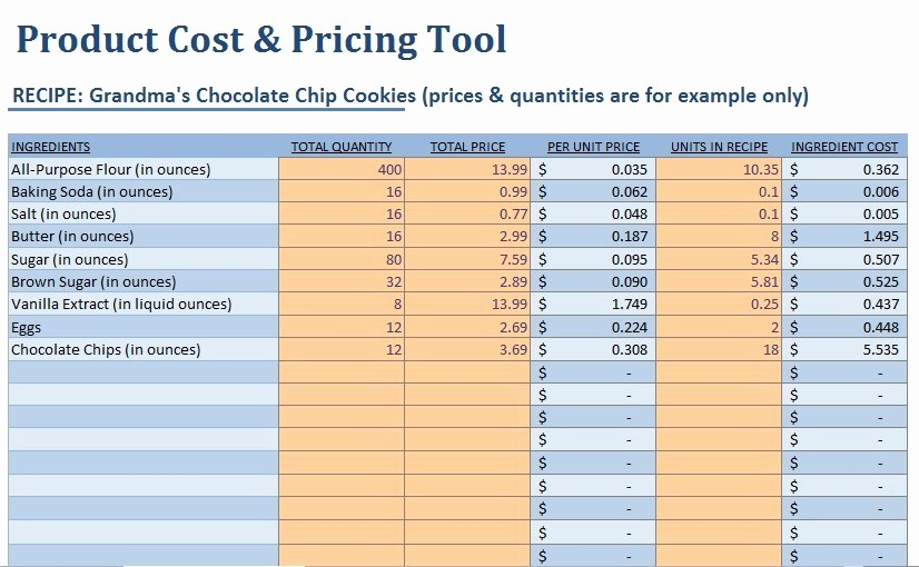 Product Costing Template Excel Free Luxury Small Food Business