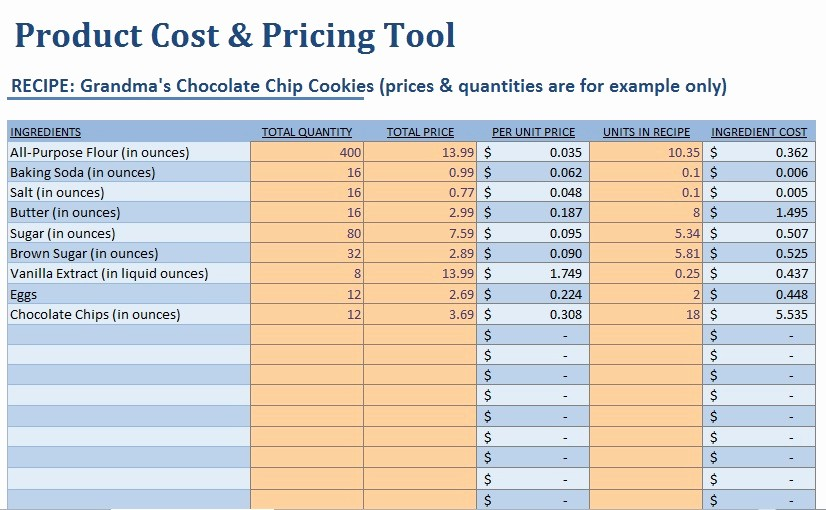 Product Costing Template Excel Free Unique Small Food Business