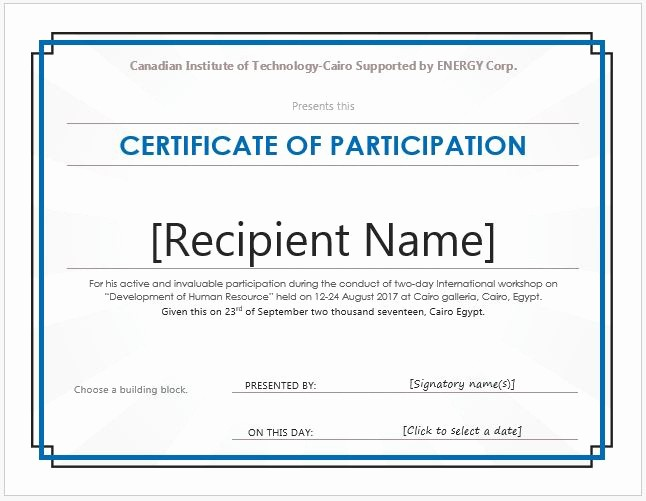 Professional Certificate Templates for Word Awesome Certificate Participation Wording Samples Certificate
