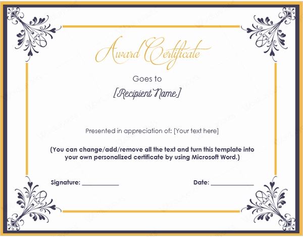 Professional Certificate Templates for Word Awesome Professional Award Certificate Template Feedscast