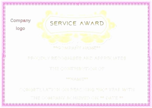 Professional Certificate Templates for Word Unique Service Award Template – Alimie