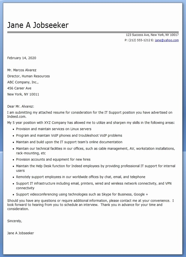 Professional Cover Letters for Resumes Fresh It Professional Cover Letter Pdf