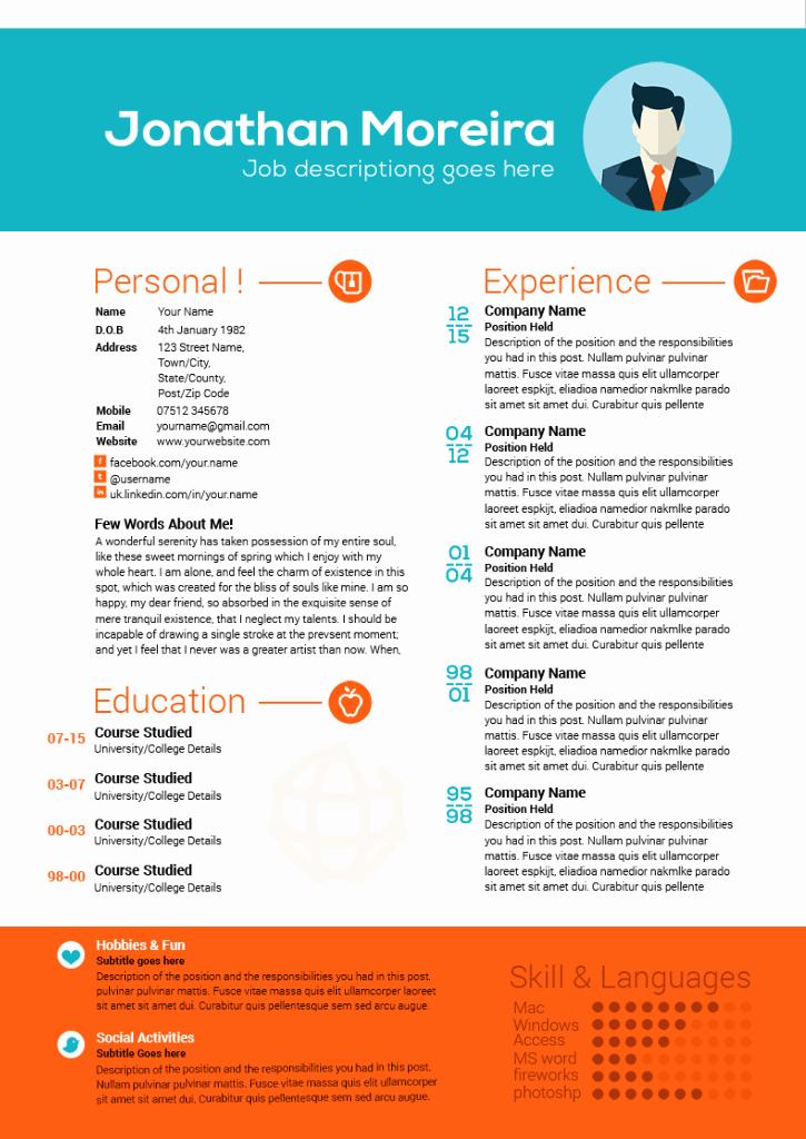 Professional Curriculum Vitae Template Download Awesome Creative Professional Curriculum Citae Template