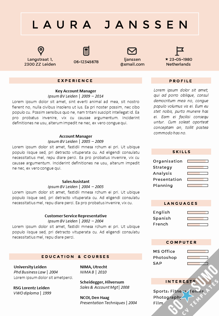 Professional Curriculum Vitae Template Download Awesome Cv Template tokyo Go Sumo Cv Template
