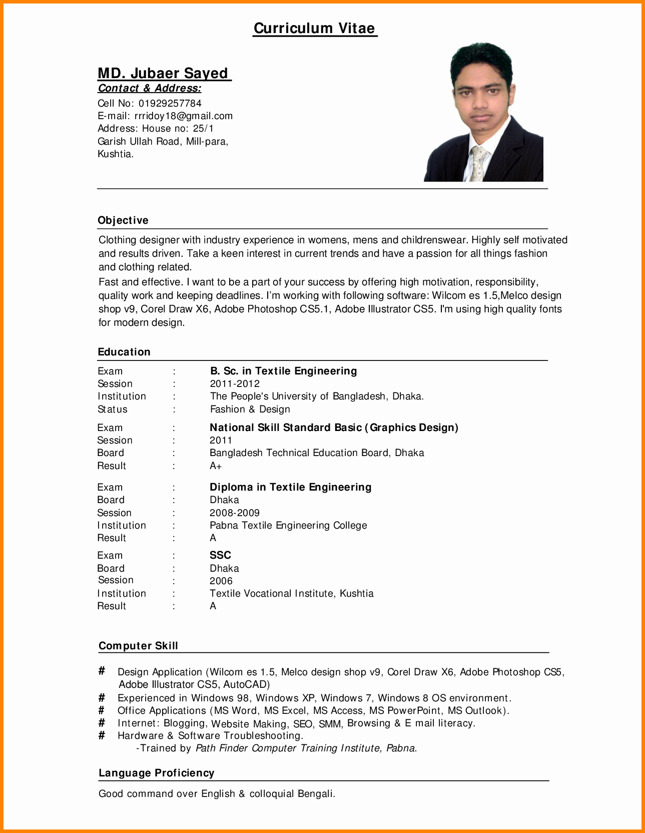 Professional Curriculum Vitae Template Download Awesome Standard Cv format Bangladesh Professional Resumes Sample