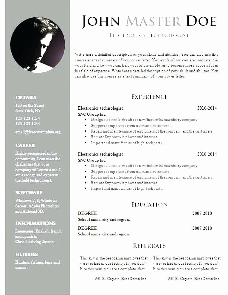 Professional Curriculum Vitae Template Download Fresh Download Professional Resume format
