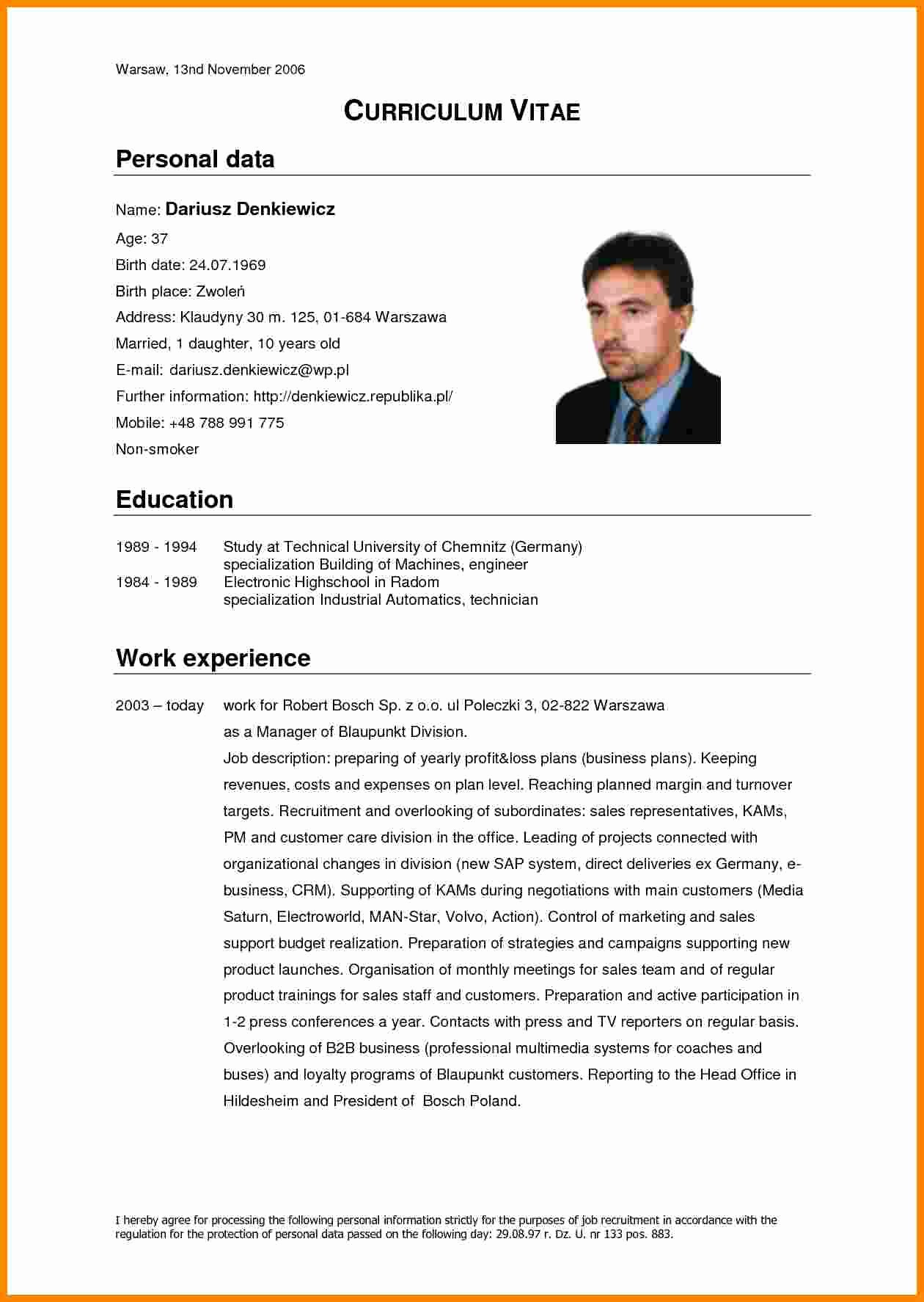 Professional Curriculum Vitae Template Download Inspirational 5 Cv Model English