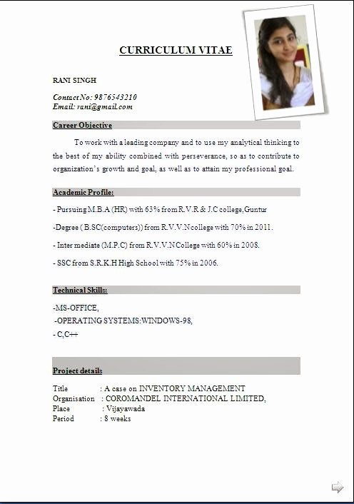 Professional Curriculum Vitae Template Download Inspirational Cv format Pdf