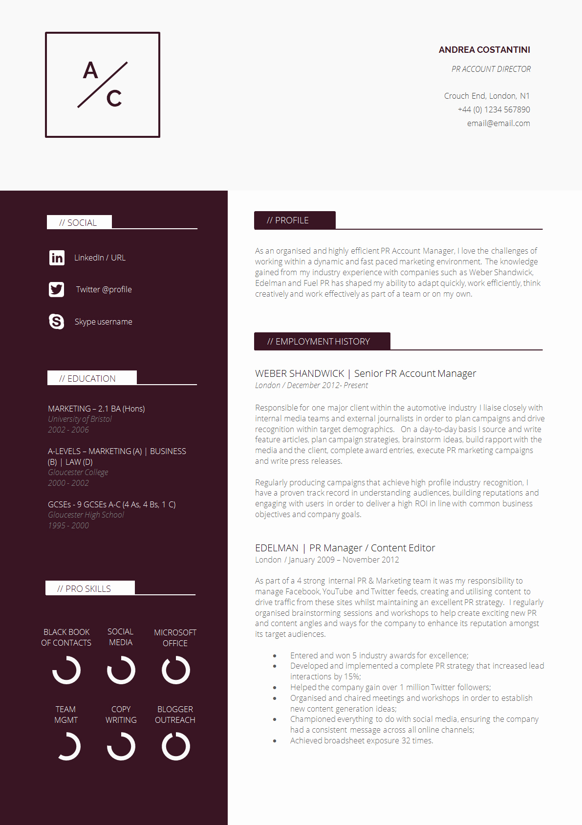 Professional Curriculum Vitae Template Download Lovely 13 Slick and Highly Professional Cv Templates