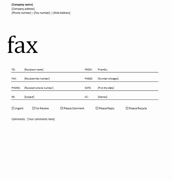 fax cover sheet with professional design