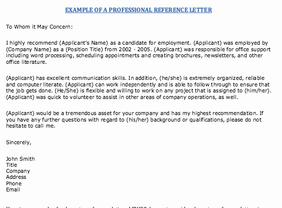 Professional Letter Of Recommendation format Awesome Example Professional Reference Letter
