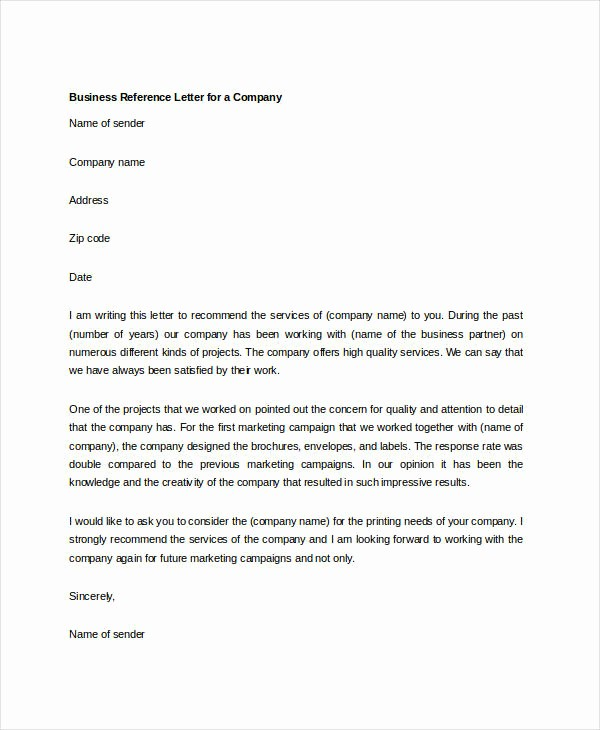 Professional Letter Of Recommendation format Lovely 10 Sample Business Reference Letter Templates Pdf Doc