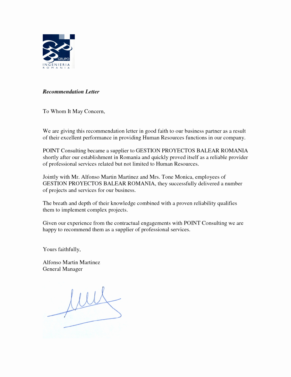 Professional Letter Of Recommendation format Lovely Business Re Mendation Letter – News