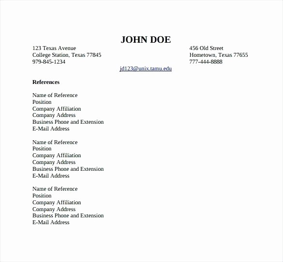 Professional List Of References Template Elegant Professional Reference List Template format References How