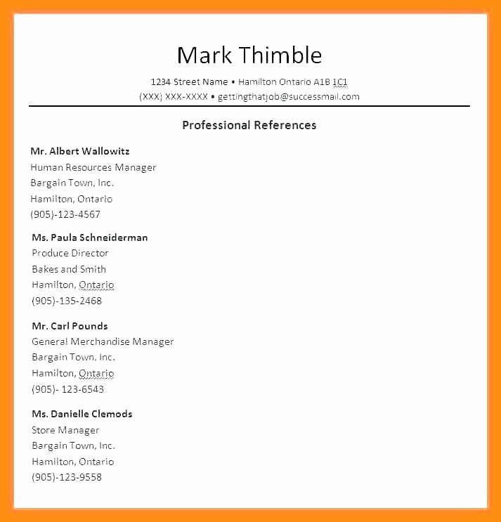 Professional List Of References Template Fresh 12 13 How to List Professional References