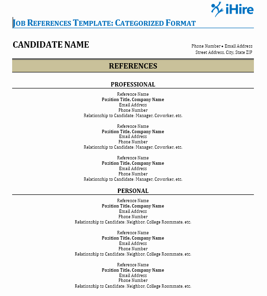 Professional List Of References Template Inspirational Job References Template Reference Page