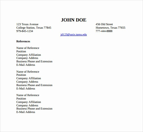 Professional List Of References Template Lovely 11 Professional References Templates – Sample Example