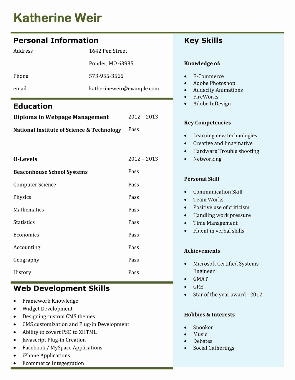 Professional Resume format Free Download Awesome 9 Best Free Resume Templates for Freshers