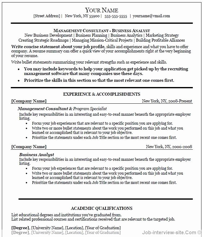 Professional Resume format Free Download Inspirational Professional Resume Template Word