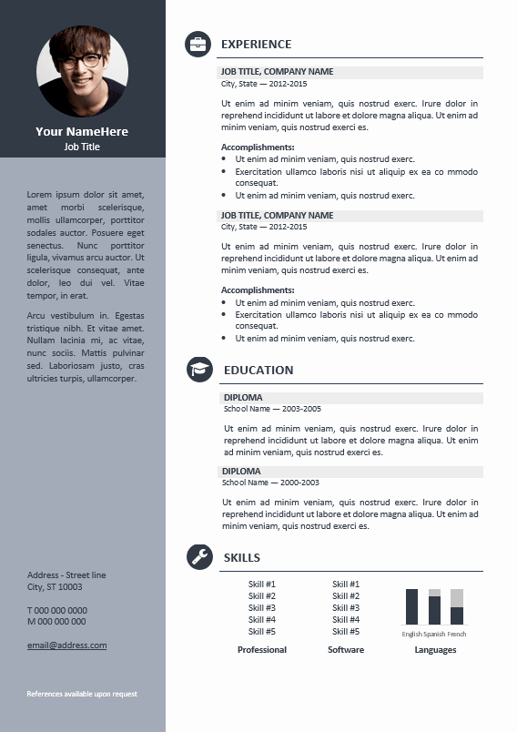 Professional Resume formats Free Download Beautiful orienta Free Professional Resume Cv Template