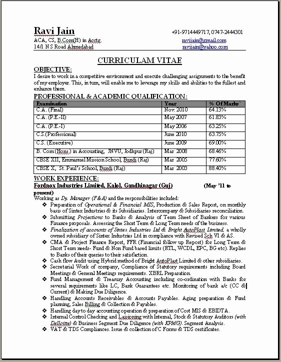Professional Resume formats Free Download Inspirational Ca Professional Resume format Free Download