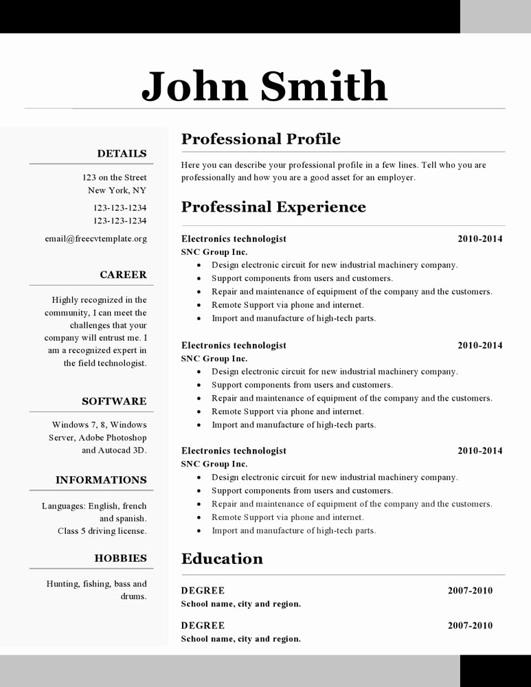 Professional Resume formats Free Download Luxury Openoffice Resume Templates