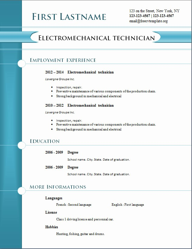 Professional Resume formats Free Download New Free Cv Templates 254 to 260 – Free Cv Template Dot org