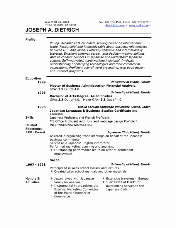 Professional Resume Template Microsoft Word New Free Resume Template Downloads
