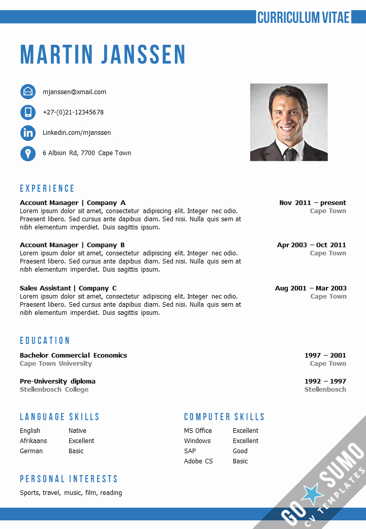 Professional Resume Templates Microsoft Word Best Of Cv Template Cape town
