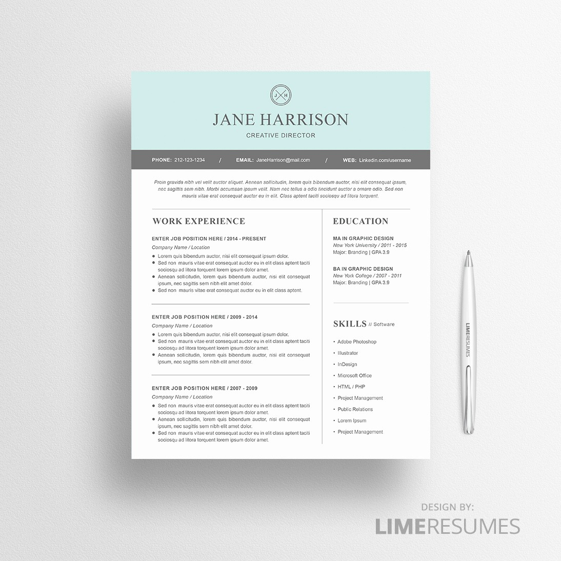 Professional Resume Templates Microsoft Word Elegant Modern Resume Template for Microsoft Word Limeresumes
