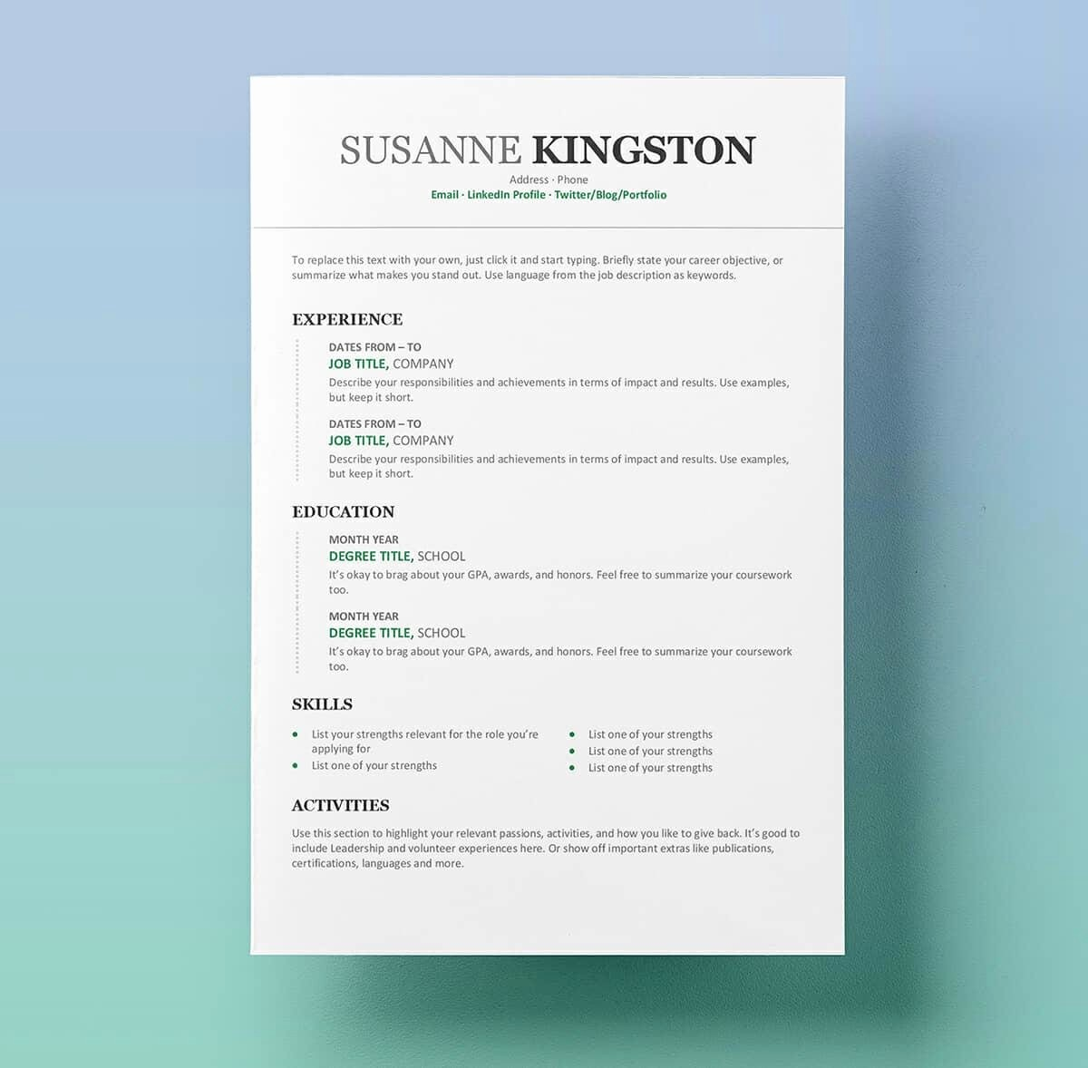 Professional Resume Templates Microsoft Word Fresh Resume Templates for Word Free 15 Examples for Download