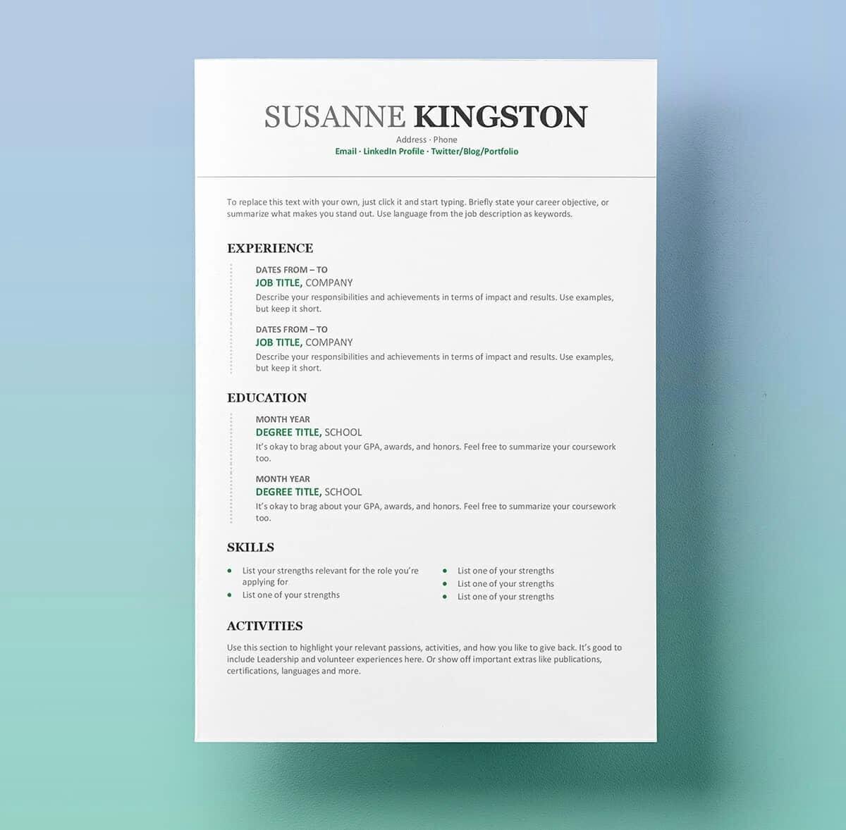 Professional Resume Templates Microsoft Word Fresh Resume Templates for Word Free 15 Examples for Download