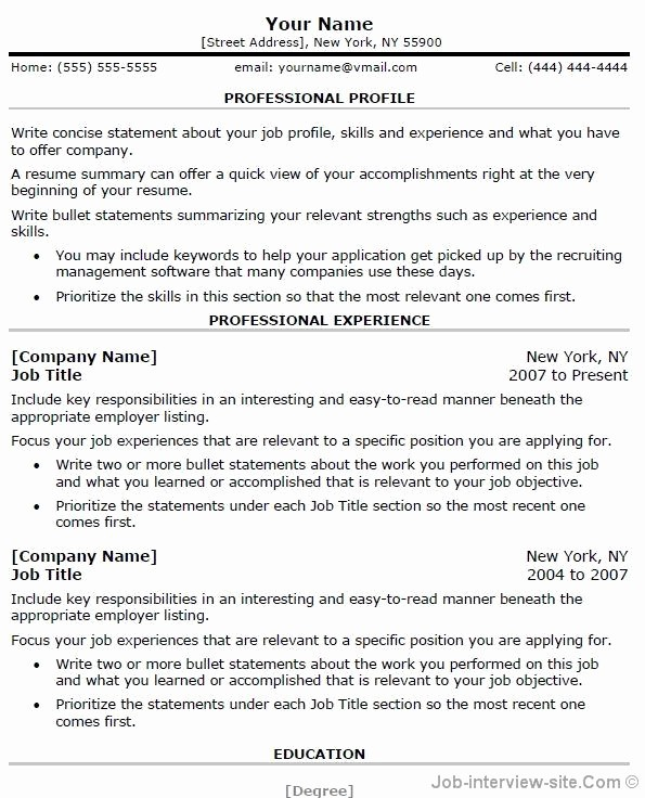Professional Resume Templates Microsoft Word New Free 40 top Professional Resume Templates