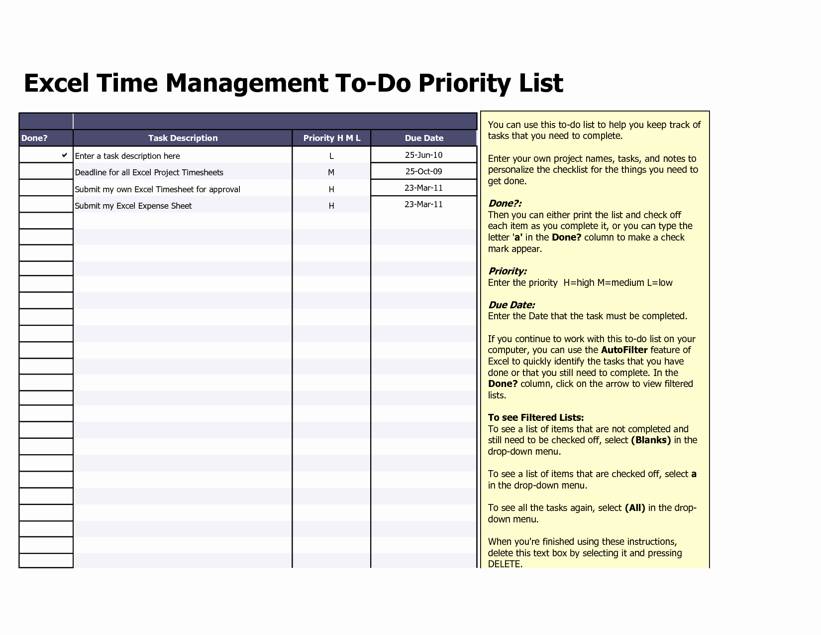 Professional to Do List Template Awesome to Do List Excel Template