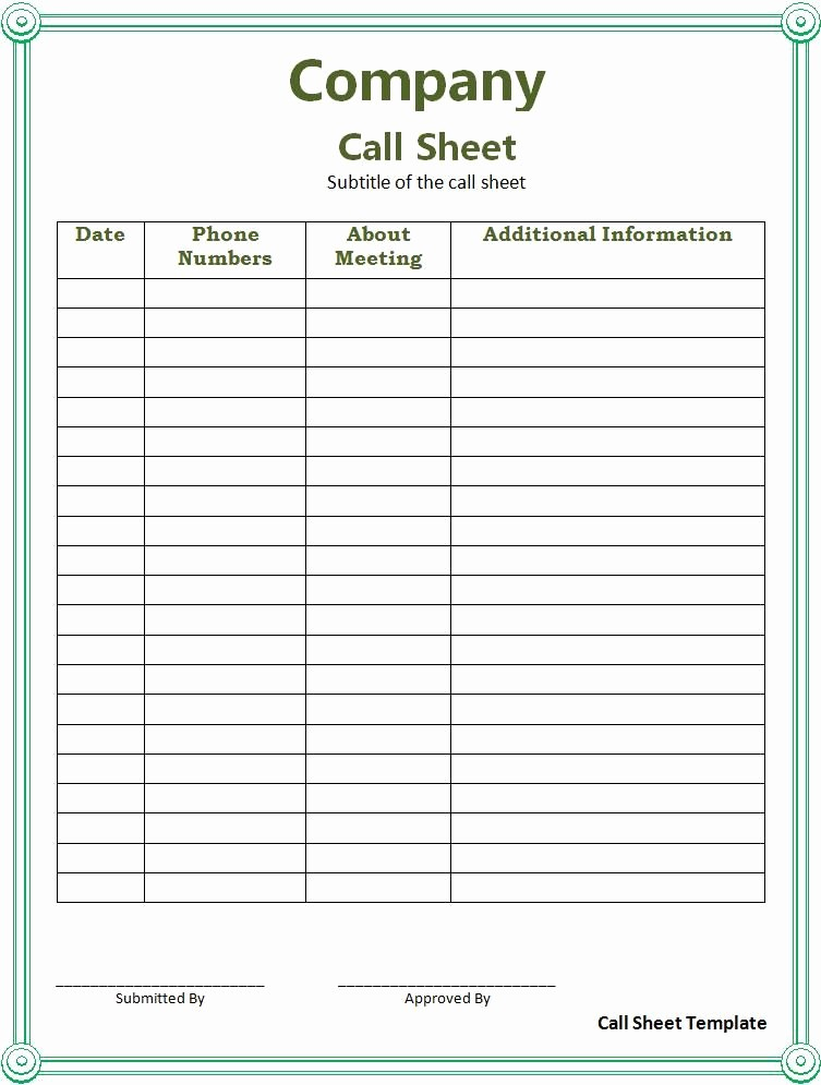 Professional to Do List Template Best Of Call Sheet Template Professional Templates