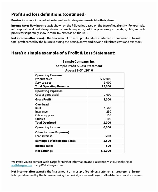 Profit & Loss Statement form Best Of Profit Amp Loss Statement Example and 8 Sample Profit Loss