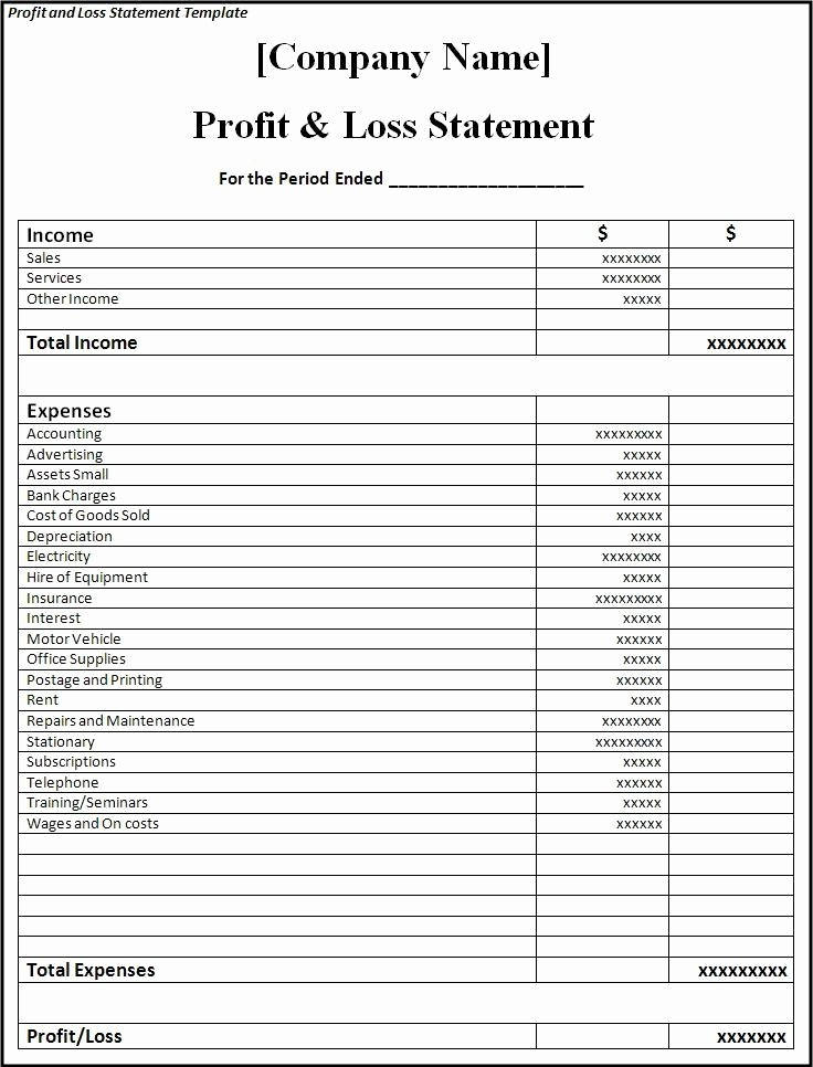 Profit & Loss Statement form Elegant P & L Template Beepmunk