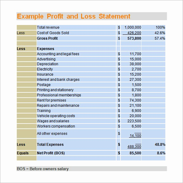 Profit & Loss Statement form Fresh 20 Elegant Profit and Loss Statement Template for Small