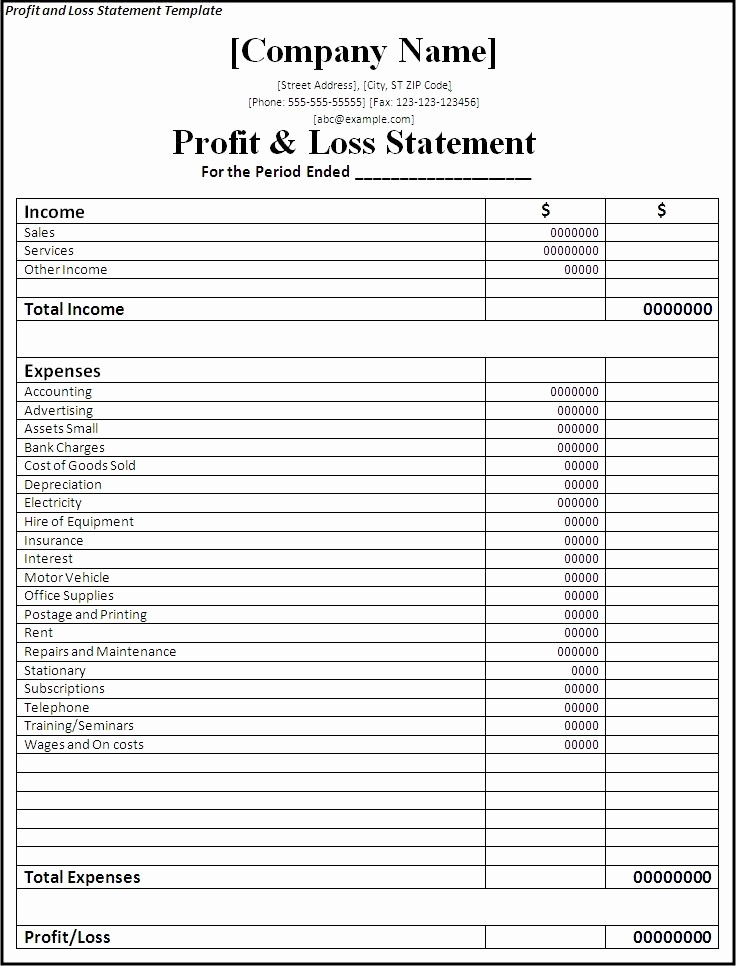 Profit & Loss Statement form Fresh Profit Amp Loss Statement Template Professional