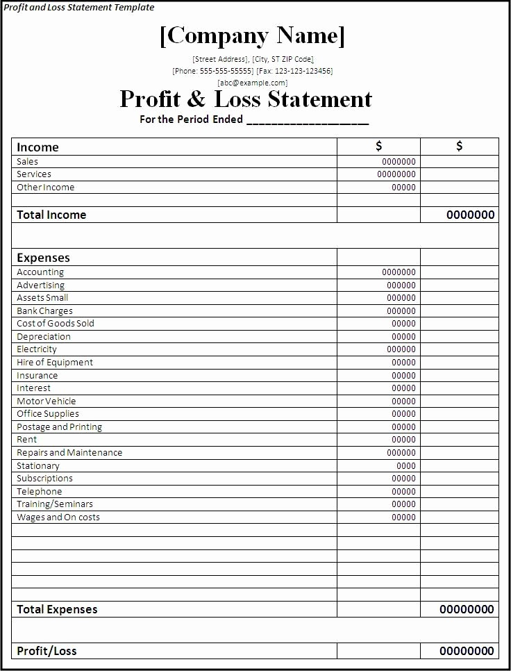 Profit & Loss Statement form Fresh Profit and Loss Statement form Printable