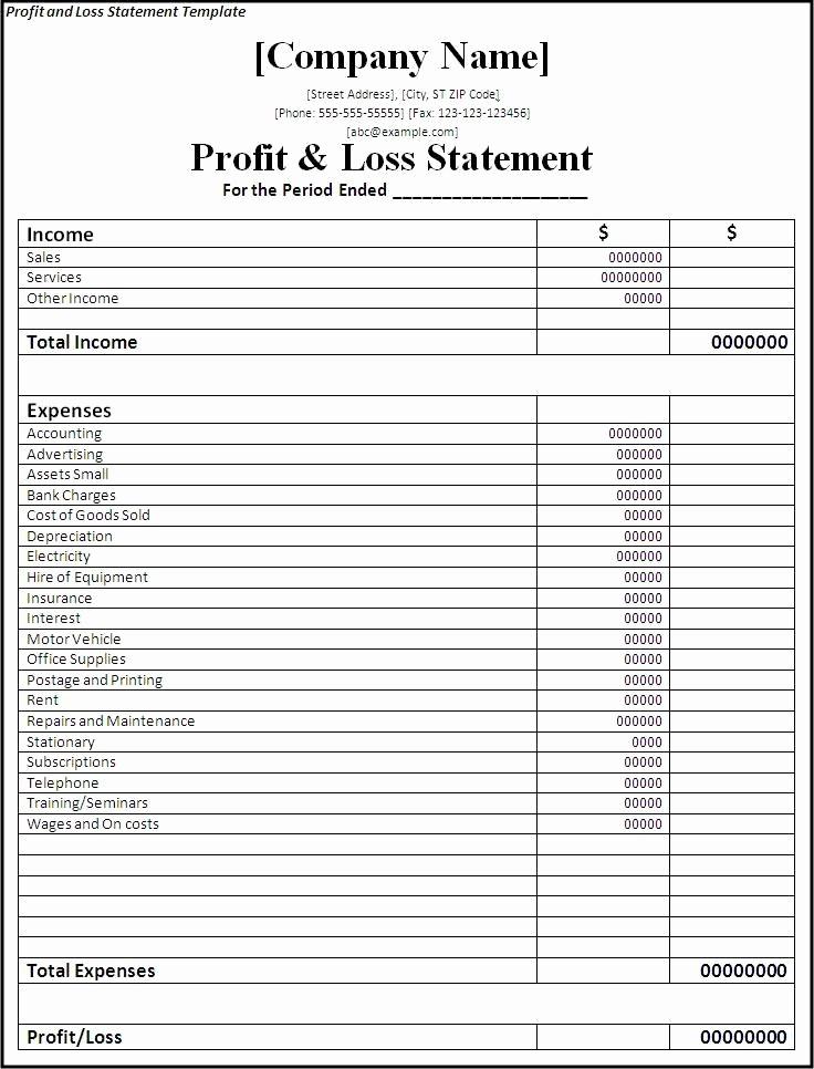 Profit & Loss Statement form Fresh Profit and Loss Statement form Printable