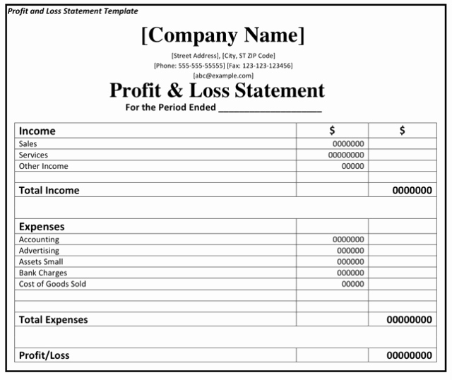 Profit & Loss Statement form Fresh Profit and Loss Statement Template Excel