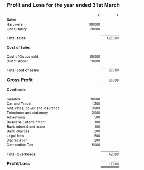 Profit and Loss Account Template Beautiful Profit and Loss Statement form for Self Employed