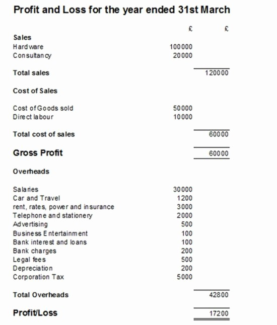 Profit and Loss Account Template Elegant Profit and Loss Statement P&l Example and Template